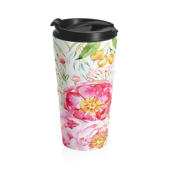 Travel Mug Beautiful Floral Stainless Steel Travel Mug