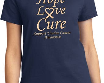 Ladies Hope Love Cure Support Uterine Cancer Awareness Tee T-Shirt HLC-SUCA-LPC61