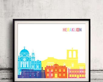 Heraklion skyline pop - Fine Art Print Glicee Poster Gift Illustration Pop Art Colorful Landmarks - SKU 2473