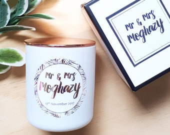 Mr & Mrs custom soy candle - Personalised Candle - Wedding Candle - Newlywed gift - Wedding gift
