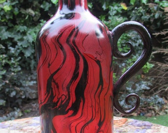 Red and Black Marbled Bottle