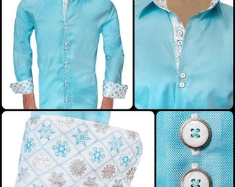 Mens Snowflake Accent Dress Shirts - Made in the USA