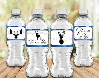 Water Bottle Labels, Baby Shower, It's A Boy, Party Supplies, Camo, Blue Camo, Deer, Buck, Hunting Theme, Printable Instant Download T231N