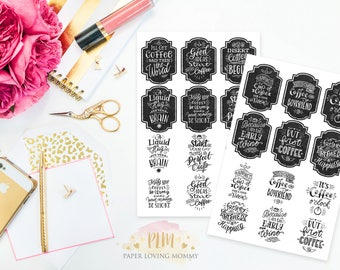 Coffee Saying Stickers | Quote Stickers | Coffee Stickers  | Planner Stickers designed for use with the Erin Condren Life Planner | 0159