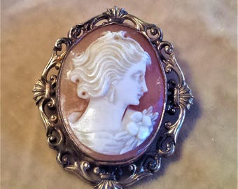 10K Gold Filled Shell Cameo Pin