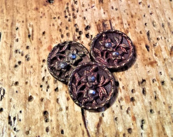 Victorian Cut-Steel Floral Buttons, Set of 3