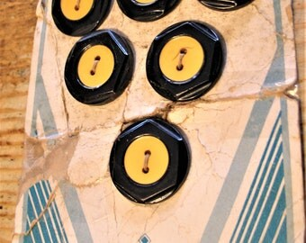 Vintage Black and Yellow Celluloid Buttons, Set of 6, Original Package