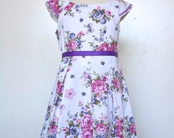 Handmade OOAK size 5yr cotton cap sleeve pleated skirt back zip