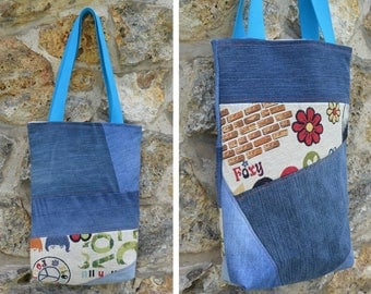 Tote bag purse Jeans denim,quilting linen coton, flower power / Beattles - recycled
