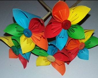 Rainbow paper stem flowers, bright, bold, everlasting, decoration, home decor, made to order, wedding center piece