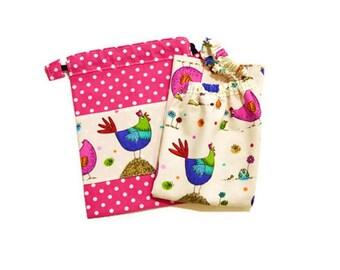 "Towel canteen elasticated bib kindergarten and coordinated pouch ""Pretty pots"""