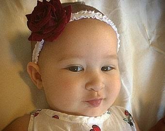 Rose headband, rose baby headband, baby headband, burgundy headband, newborn headband, red baby headband, burgundy baby headband, flower