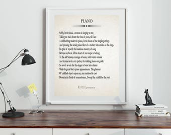Piano by DH Lawrence 1918 Poetry Wall Art Poem for Mother Gift for Mother Poem for Parents (9 sizes available)