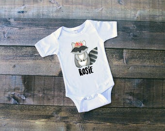 Floral Raccoon w/Name - Woodland Animals Onesie or T-Shirt