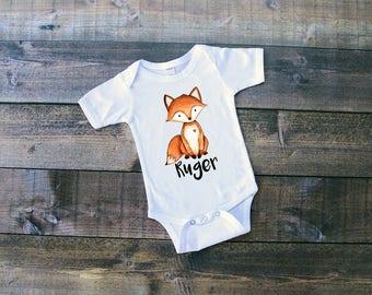 Fox w/Name - Woodland Animals Onesie or T-Shirt