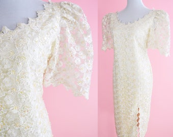Vintage 80s Prom, White Beaded Lace Party Dress // 1980s, Special Occasion, Cocktail Dress Women Size Large