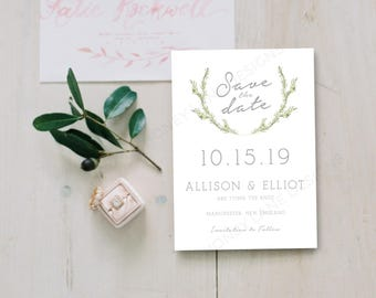 Personalised Printable Card, Save the Date Card, Allison Collection, PDF