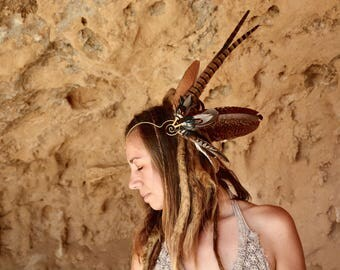 Feather crown headwing OOAK with rare and striking jaguar pheasant, duck, partridge, peahen and more in natural brown and green earthy tones