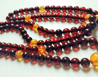 Little bit of sunshine: 108 baltic amber mala (size Ø7 colour6&4), buddhist meditation, guru bead, 108 bead mala