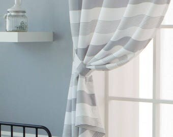 "Striped Curtains Grommet 67""L Grey"