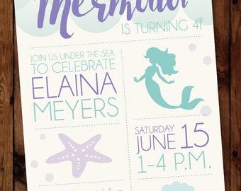 Mermaid Birthday Invitation, Under the Sea Invitations, Little Mermaid Invitation, Little Mermaid Invite, Under the Sea Party Invite #003