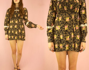 Calico Dolly 60s Floral Micro Mini Dress