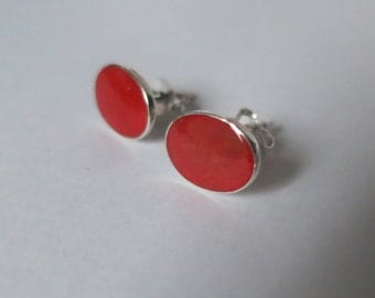 Coral stud earrings, red,oval, 92.5 sterling silver