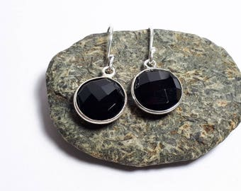 Faceted black onyx earrings, 92.5 sterling silver; round shape; free shipping