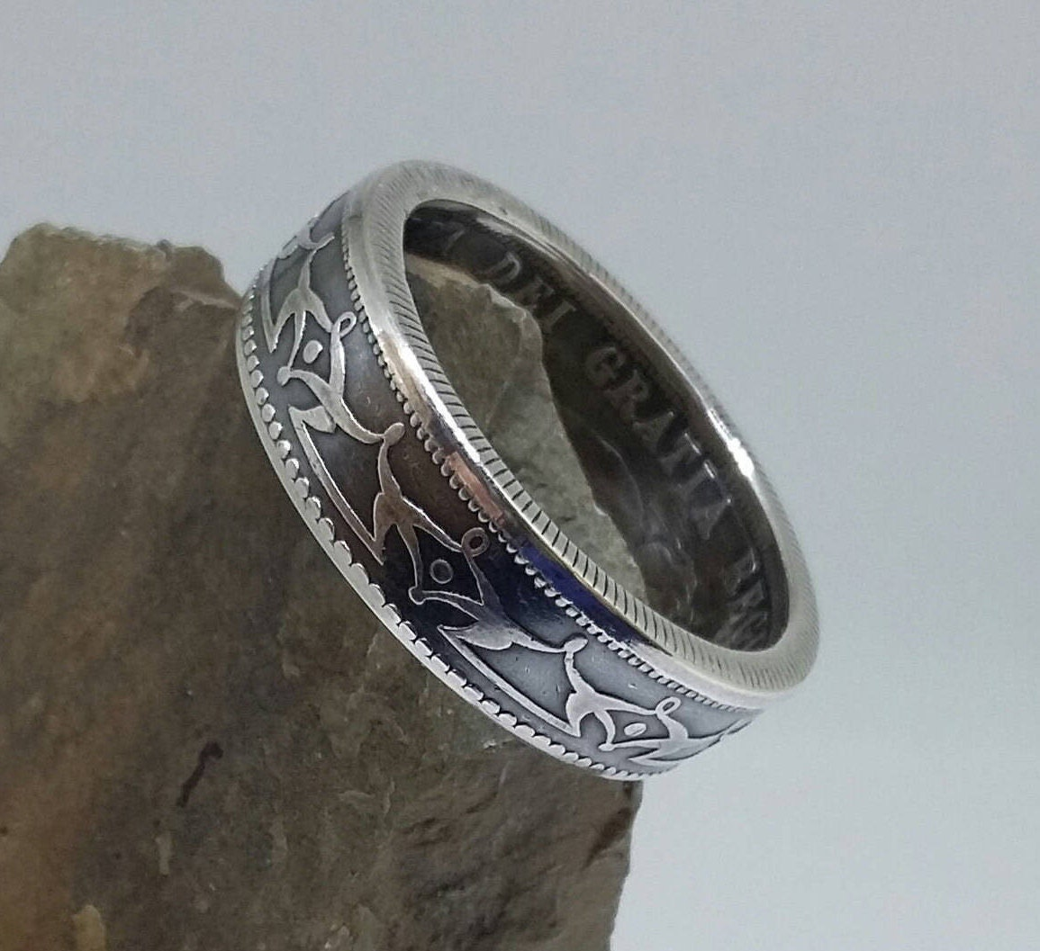 1890 s newfoundland silver coin ring handcrafted