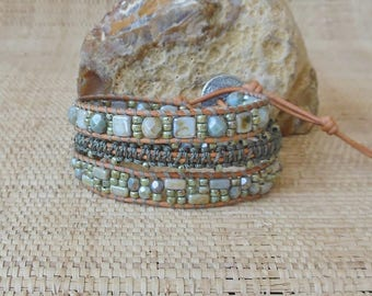 Beaded Leather Wrap Bracelet with Macrame: Sage Mix/3 Wrap Bracelet/Green Wrap Bracelet/Tila Beads/Seed Beads/3rd Anniversary for Her/OOAK