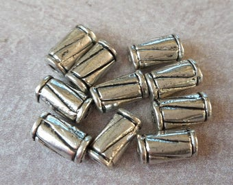 Striped tube - spacer beads - antique ethnic boho - silver - colored metal 8 x 4 mm beads