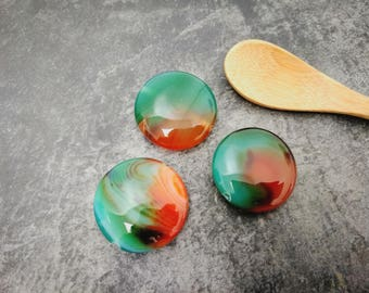 Large stone puck bead, agate stone, green and orange stone, 25 mm bead