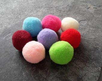 Tassel rondst fur felt, multicolour ornament pendant 25 mm round balls, hobby, 10 pcs tassels