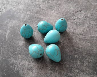 Large Pearl drop turquoise stone howlite, 15 x 12 mm, 2 pcs