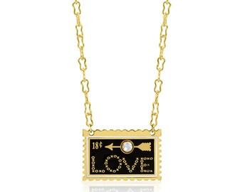 LOVE Stamp Enamel Necklace