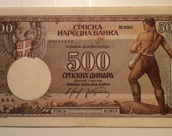 500dinars,1942,yugoslavia banknote,paper money rare