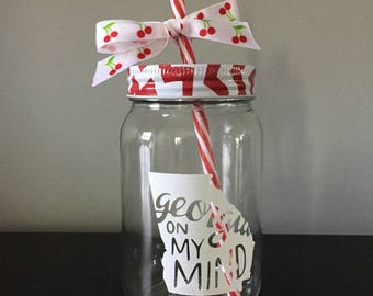 Georgia On My Mind Glass Mason Jar Tumbler with Chevron Lid - Gifts - Personalize It - Southern Style