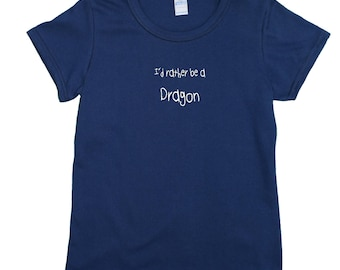 I'd rather be a dragon - navy blue women's t-shirt. Funny slogan shirt.   Individually made in England. W6