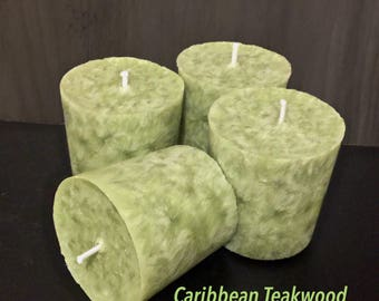 Organic Palm Wax Votive Set-Caribbean Teakwood-Vegan Gift Sets-Votive Sets- Gift Ideas- Scented Candles-Sconses Decor- Scents for Men