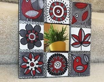 Small Wall Mirror, Square Mirror, Decorative Wall Mirror - RED&BLACK BIRDS