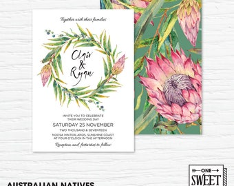 Wedding Invitation Printable, Australian, Native Flowers, Eucalypt Leaves, Protea, Nature, Spring Wedding
