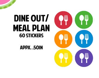 Dine Out/Meal Plan Icon Stickers   60 Kiss Cut Stickers   IC056