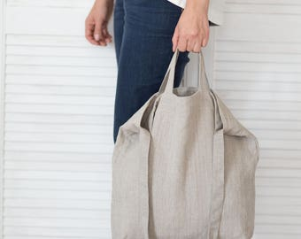 Natural linen bag, Zero waste bag, Cross body bag, Grocery tote, Vegan bag, Shoppers bag, Market tote, Diaper bag