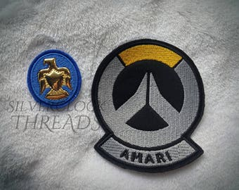 Sew-on patch - Overwatch Ana Captain Amari skin set - beret eagle and shoulder symbol embroidery -  9 cm / 3.5 in - costume and cosplay prop