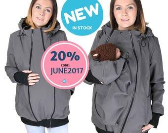 NEW Softshell Babywearing jacket, maternity coat, carrier jacket, softshell baby carrying jacket, maternity , mom and baby coat GRAPHITE
