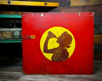 Vintage Hand Painted Metal Coca Cola Lady Drinking from Antique Bottle Advertising Sign Soda Pop Door Silhouette Shadow RARE Industrial Old