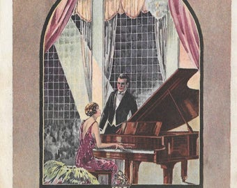 "Vose Pianos Advertising Flyer, Boston, Mass., 1927 - 5 1/8"" by 7 7/8"", very glamorous"