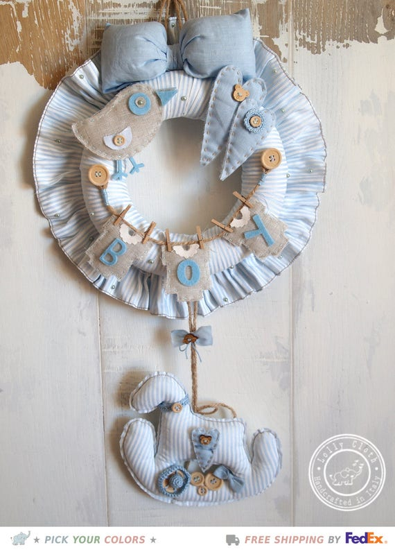 Baby boy birth wreath hospital door hanger decoration for Baby boy hospital door decoration