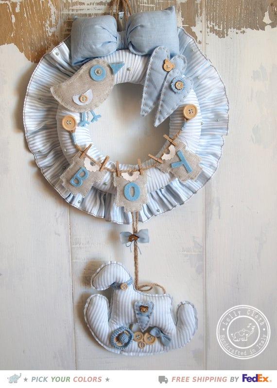 Baby boy birth wreath hospital door hanger decoration for Baby boy door decoration