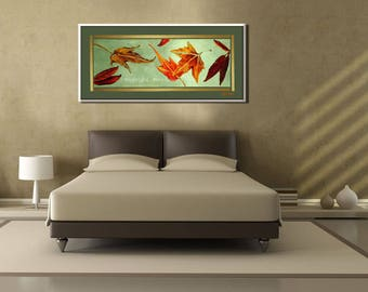 Large Wall Art Prints From Original Painting, Large Canvas Art of Autumn Color Leaf Art, Bedroom & Living Room Gold Autumn Leaves